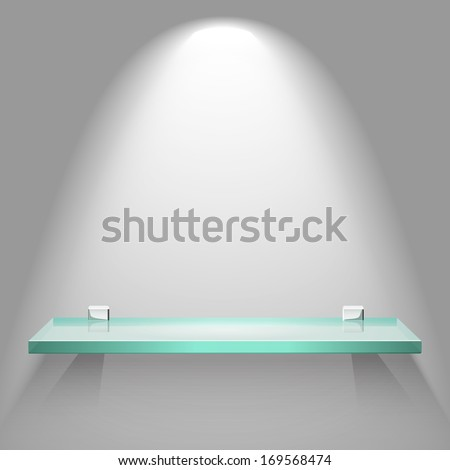 Empty square glass shelf under bright soft lighting hanging on a wall. Vector advertising background. - stock vector