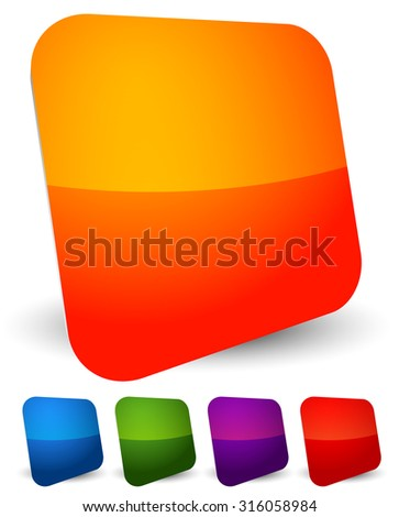 Empty square icons, symbol backgrounds. Colorful squares. Glossy, shiny buttons with blank space. - stock vector