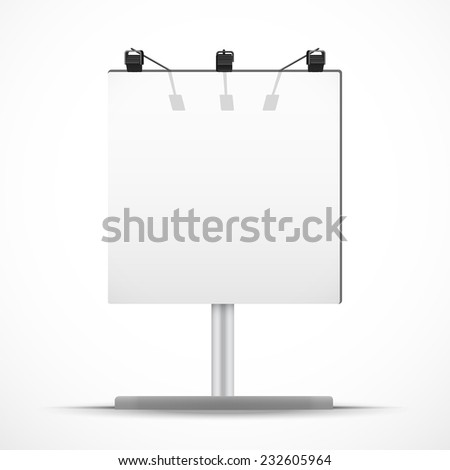 Empty square mockup billboard with spotlights and day light. Vector Illustration isolated on white background. - stock vector