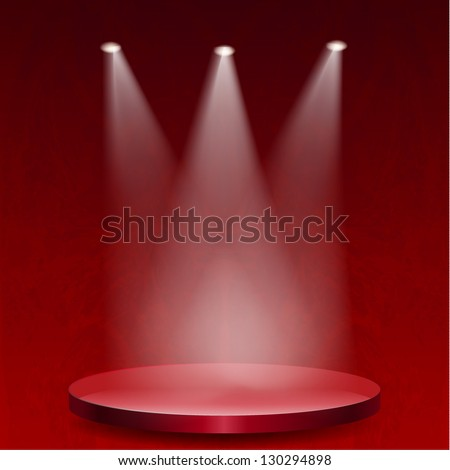 Empty stage lit with lights on red grunge background - stock vector