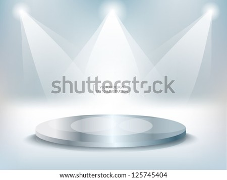 Empty stage podium with light. vector illustration - stock vector
