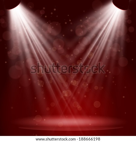 Empty stage with lights on red background Vector illustration. EPS 10 - stock vector