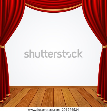 Empty stage with red curtains drapes  and brown wooden floor, stock vector graphic illustration - stock vector