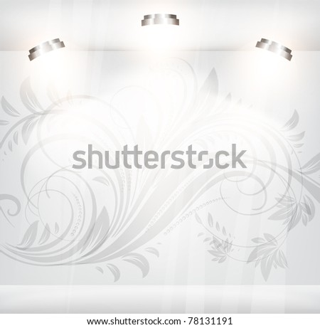 Empty storefront with floral background with flowers - stock vector
