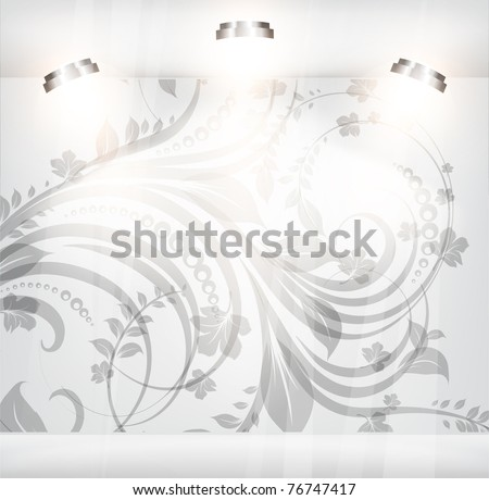 Empty storefront with floral background. You can change colors for the background, eps10 vector - stock vector