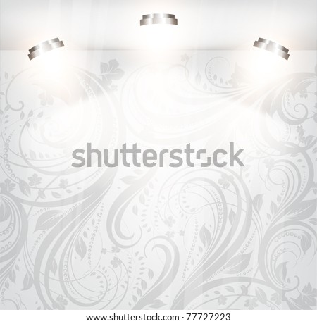 empty storefront with floral background. You can change colors for the background, vector - stock vector