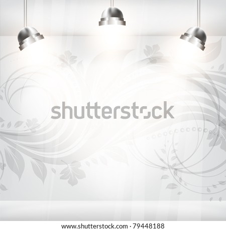 empty storefront with floral flower vintage background. You can change colors for the background, vector - stock vector