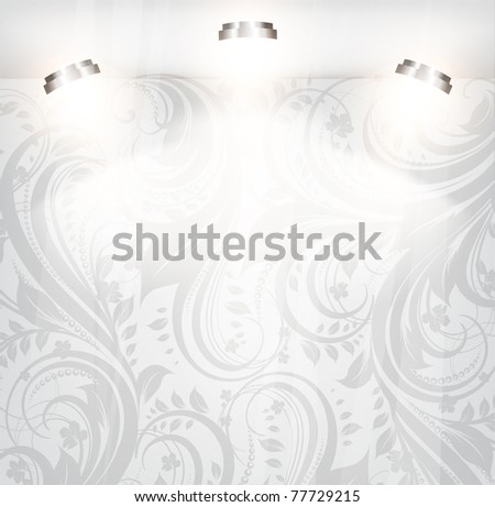 empty storefront with floral seamless background. You can change colors for the background, vector, eps 10 - stock vector