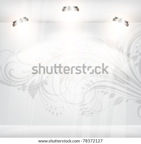 empty storefront with floral vintage background. You can change colors for the background, vector eps 10 - stock vector