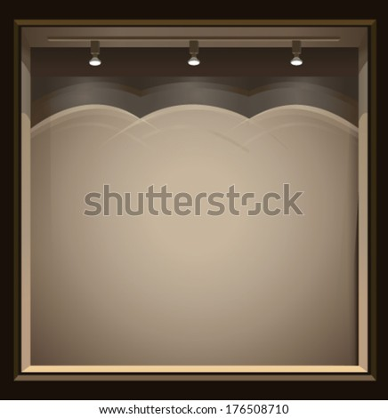 Empty storefront  with lights - stock vector