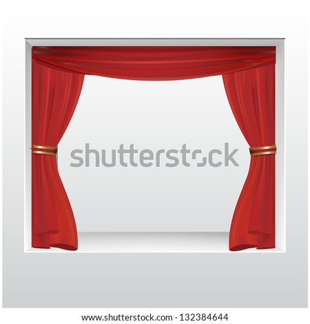 empty storefront with red show curtain to place your object. vector design - stock vector