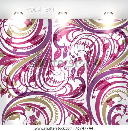 empty storefront with seamless floral background. You can change colors for the background, eps10 vector - stock vector