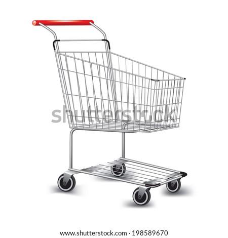 Empty supermarket shopping cart. Vector illustration - stock vector