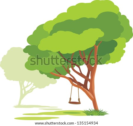 Empty swings on a spring tree. Vector - stock vector