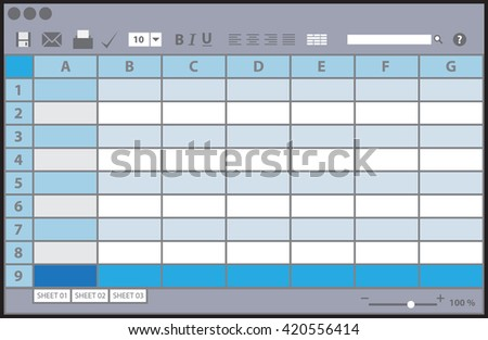 Empty table document, colorful template, vector illustration