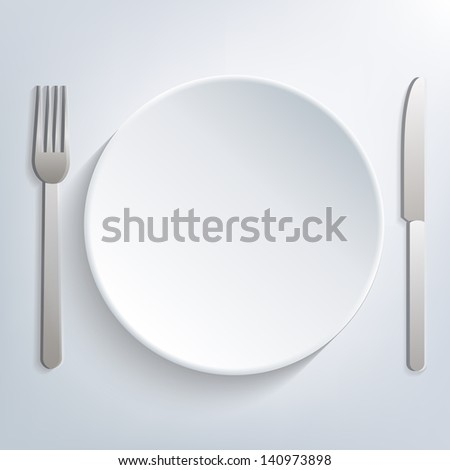 Empty table setting, plate knife and fork, eps10 vector - stock vector