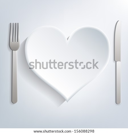 Empty table setting, plate with heart shape, knife and fork, eps10 vector - stock vector