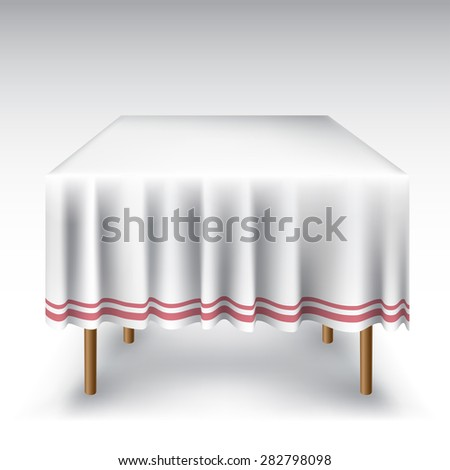 Empty table with white tablecloth - stock vector