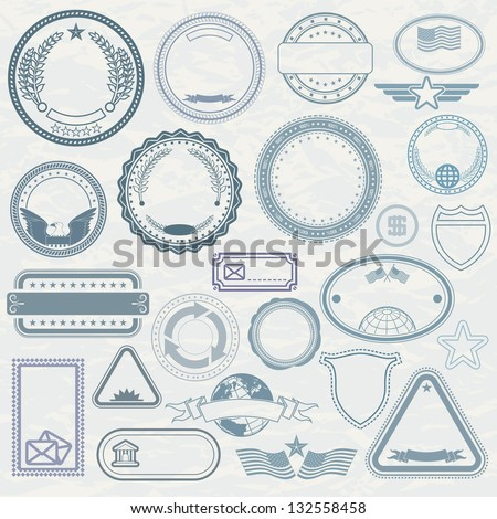 Empty Template of Rubber Stamps. Customizable Vector Design Elements. - stock vector