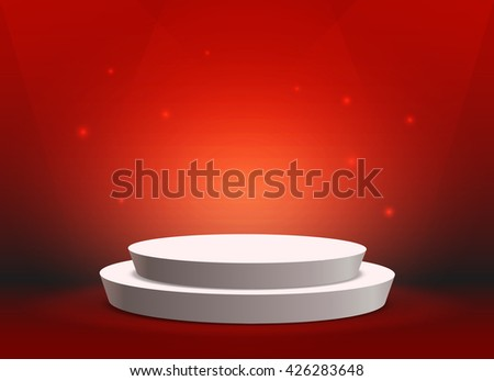 Empty template of white round podium on bright red background