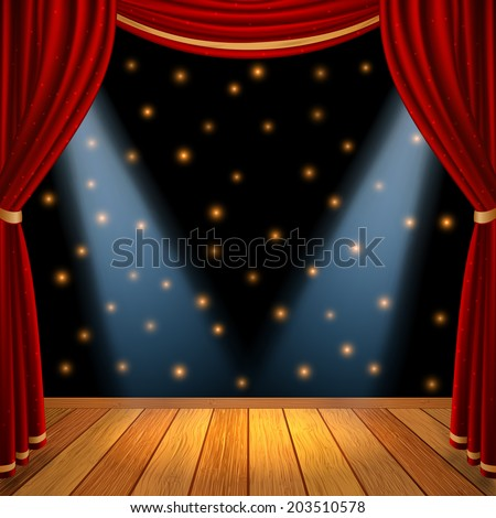 Empty theatrical scene stage with red curtains drapes  and brown wooden floor with dramatic spotlight in the center , stock vector graphic illustration - stock vector