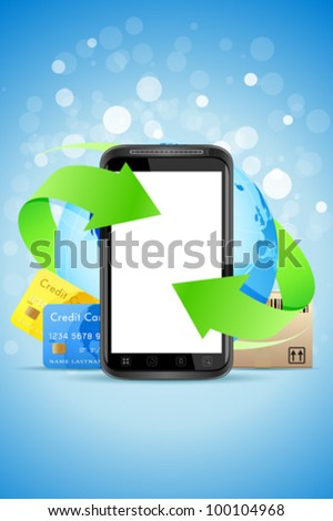 Empty Touch Phone with Earth Globe Bank Cards and Cardboard Box - stock vector