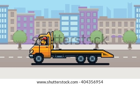 Empty Tow truck, city background pixel art game style layer vector illustration - stock vector