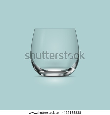 Empty transparent drinking glass cup. Vector illustration