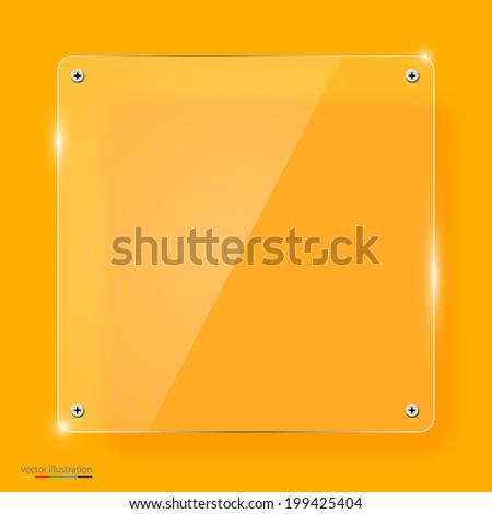 Empty transparent glass framework. Yellow background - stock vector
