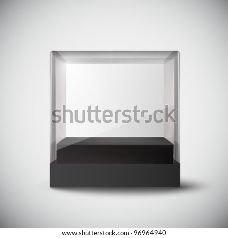 empty vector glass cube - stock vector