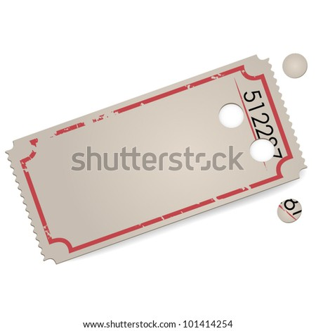 Empty vector vintage ticket - space for text - stock vector