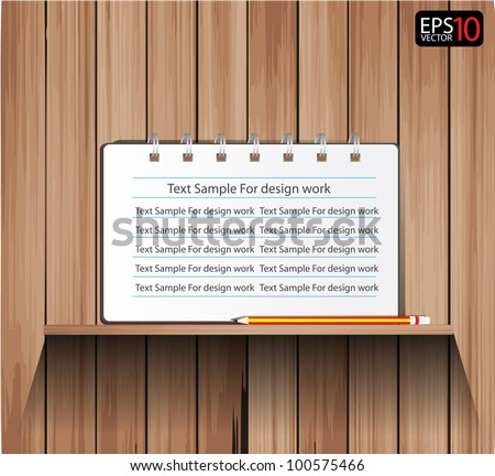 Empty vector wood shelf and Notebook with Pencils