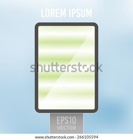 Empty vertical light billboard background vector illustration - stock vector