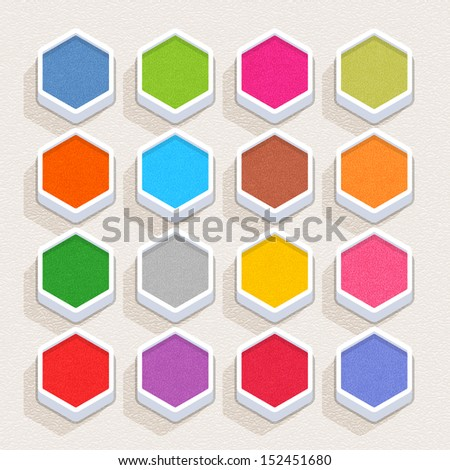 Empty web icon with paint texture. Hexagon internet button with shadow on beige plastic surface background. Simple minimal, flat, solid, mono, plain style. Vector illustration design element in 10 eps - stock vector