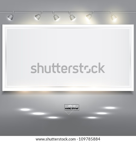 Empty white banner for product advertising with lighting - stock vector