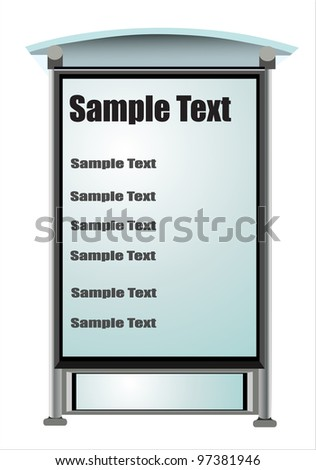 Empty white billboard at bus stop - stock vector