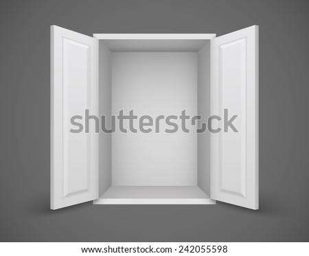 Empty white box with open doors and nothing inside. Eps10 vector illustration - stock vector