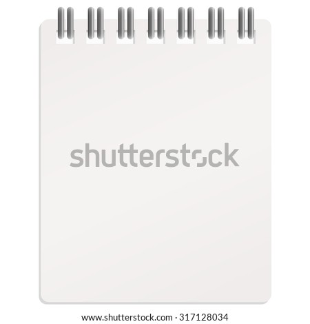 empty white calendar with metal rings on white background - stock vector