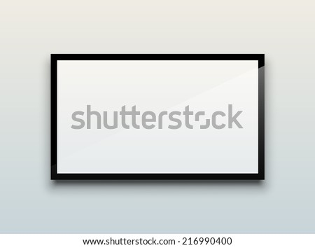 Empty white flat TV screen hanging on a white wall. EPS10 vector image. - stock vector