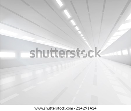 Empty white hall. Vector illustration. - stock vector