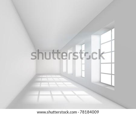 Empty white interior. Vector illustration. - stock vector