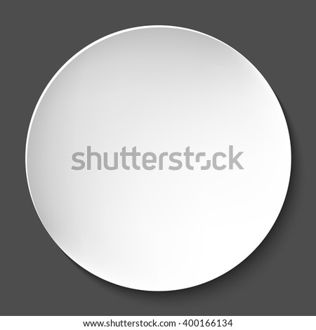 Empty white paper plate. Vector round plate Illustration on dark background. Plate background for your design. - stock vector