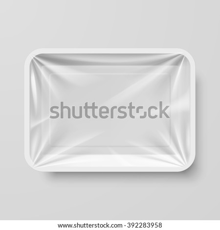 Empty White Plastic Food Container on Gray - stock vector