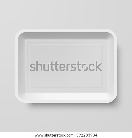 Empty White Plastic Food Container on Gray Background - stock vector