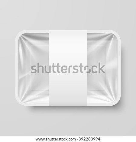 Empty White Plastic Food Container with Label on Gray Background - stock vector