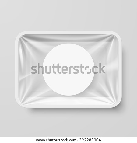 Empty White Plastic Food Container with Round Label