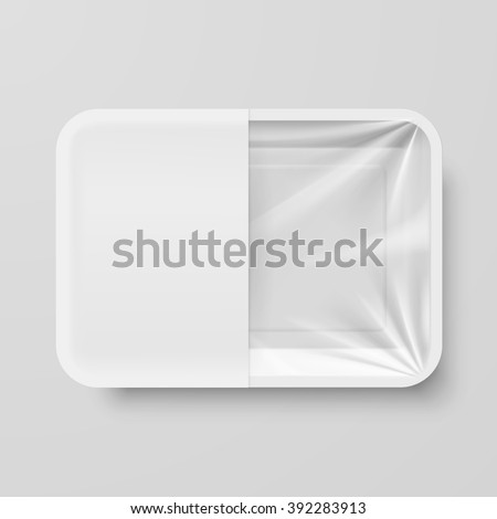 Empty White Plastic Food Container with White label on Gray Background