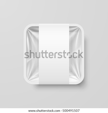 Empty White Plastic Food Square Container with Label on Gray Background