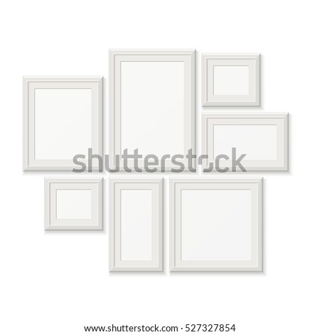 Empty white pocture frames, 3d photo borders isolated on wall.