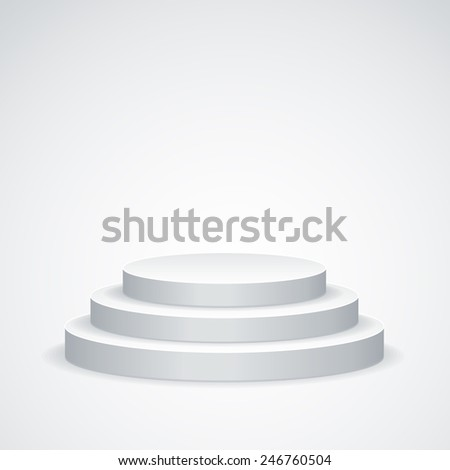 Empty white podium isolated on white background - stock vector